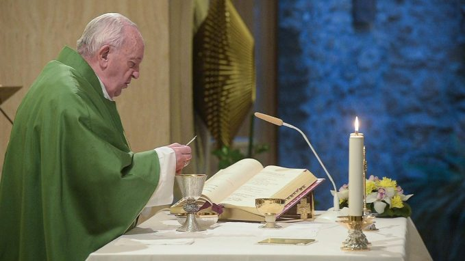 pope at mass beware of slippery slide toward worldliness By Vatican News