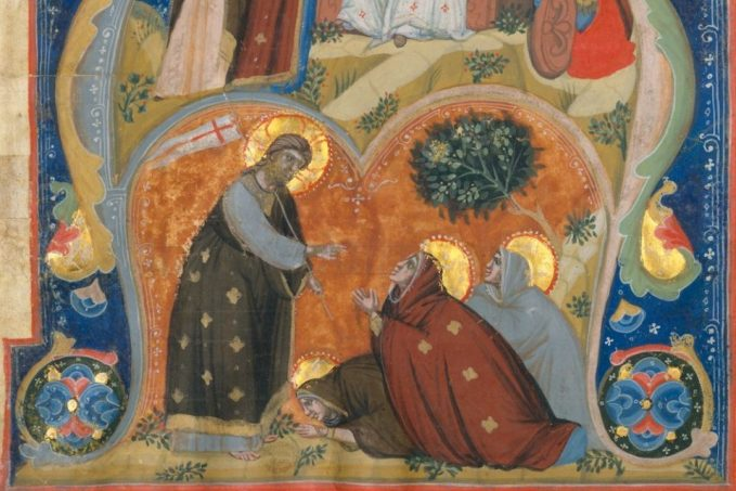 join us for a virtual triduum observance Detail of manuscript illumination with scenes of Easter by Nerius, circa 1320 (Metropolitan Museum of Art)