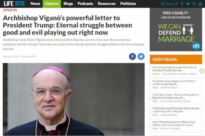 dear archbishop vigano youre right a cosmic battle is upon us A screenshot of Archbishop Carlo Maria Viganò's letter to President Donald Trump, published on LifeSiteNews. (NCR screenshot)