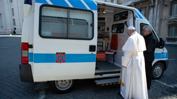 pope dedicates ambulance to care for romes homeless By Devin Watkins