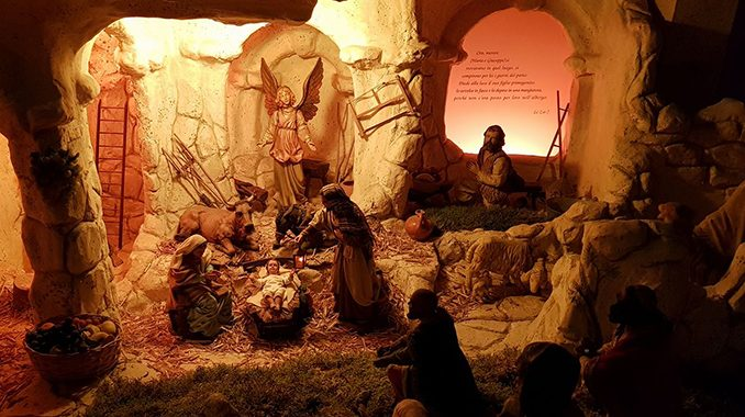 """the nativity scene in italy displaying the biblical story of salvation St. Francis of Assisi's words: """"I want to stage the birth of Jesus in Bethlehem to show the wonders of the Spirit through the eyes of the body,"""" have struck a chord with Italian priest, Father Marco Polverari. According to tradition, St. Francis pronounced them in 1223 in Greccio, a small mountain village near Rome, where the poor man of Assisi staged the first Nativity scene in history. It was not made of statues; it was enacted and experienced by all present."""