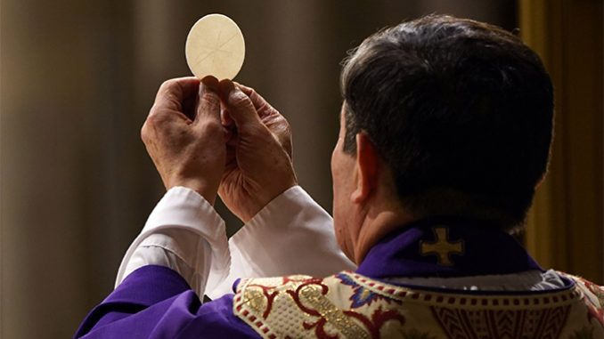 """the challenge of eucharistic coherence In his encyclical, Ecclesia de Eucharistia, Pope St. John Paul II invited Catholics to """"rekindle"""" our sense of """"Eucharistic amazement,"""" for """"the Church draws her life from the Eucharist,"""" which """"recapitulates the heart of the mystery of the Church"""" – Christ's glorified, abiding presence with, in, and through his people, fulfilling his promise to remain with us """"to the close of the age"""" (Matthew 28:20). In the Eucharist, the Church meets her Lord """"with unique intensity."""" Thus the celebration of the Eucharist is not just something the Church does; the celebration of the Eucharist singularly embodies what the Church is."""