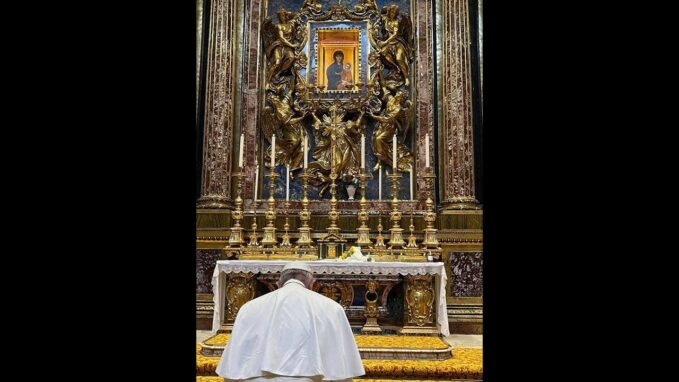pope francis thanks our lady upon return from iraq visit By Devin Watkins