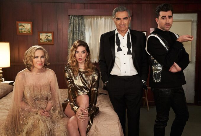 """theology can learn a lot from schitts creek The Rose family of """"Schitt's Creek"""" (from left): Catherine O'Hara as Moira, Annie Murphy as Alexis, Eugene Levy as Johnny, and Daniel Levy as David (Newscom/Album/CBS/Not A Real Company)"""