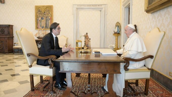 pope holds audience with president of north macedonia The Pope held a private audience on Thursday with PresidentStevo Pendarovski of North Macedonia, according to the Holy See Press Office.