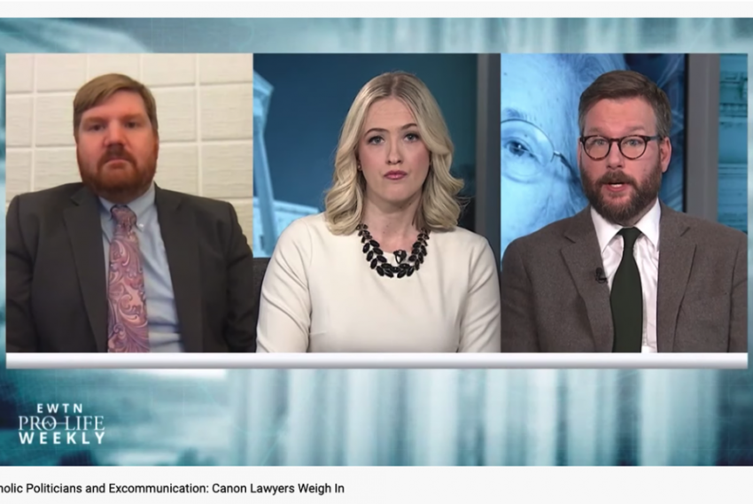 new catholic website the pillar operates on shaky journalistic foundation J.D. Flynn, left, then-editor-in-chief of Catholic News Agency, and Ed Condon, right, then-DC bureau chief for CNA, weigh in as canon lawyers on EWTN Pro-Life Weekly with Catherine Hadro in April 2019. (NCR screenshot/YouTube/EWTN)